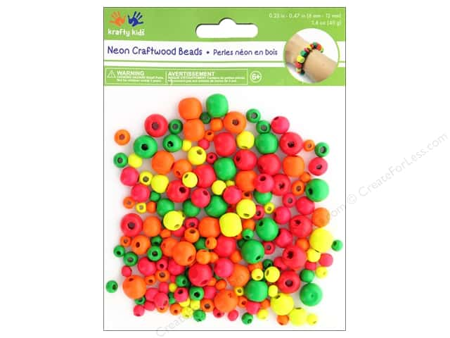 Multicraft Krafty Kids Wood Bead Round 1.4 oz Neon