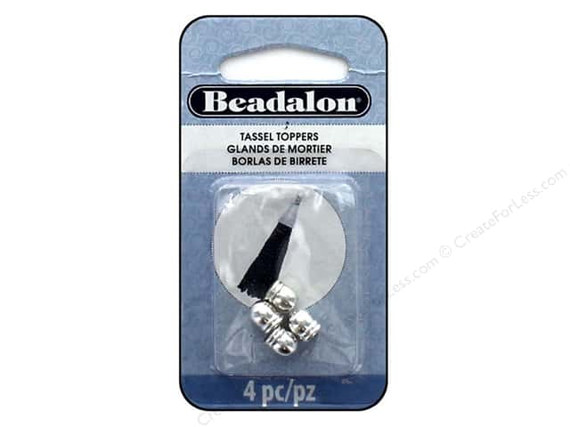 Beadalon Findings Tassel Topper 2 Line Round 1.3 mm Silver Plate 4 pc