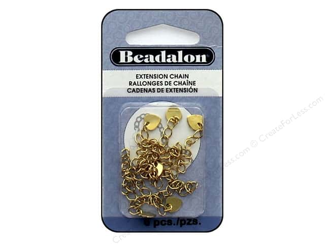Beadalon Findings Extension Chain Heart Gold Plate 7 pc
