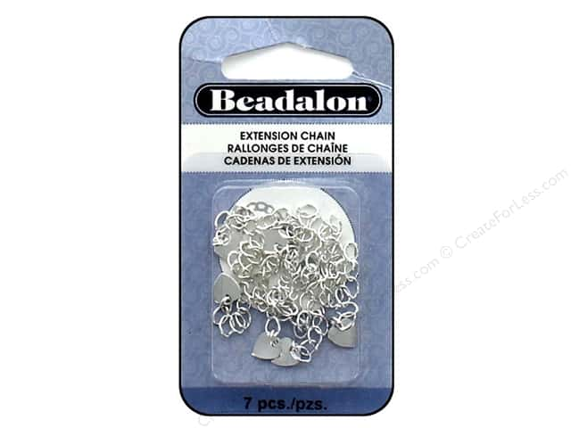Beadalon Findings Extension Chain Heart Silver Plate 7 pc