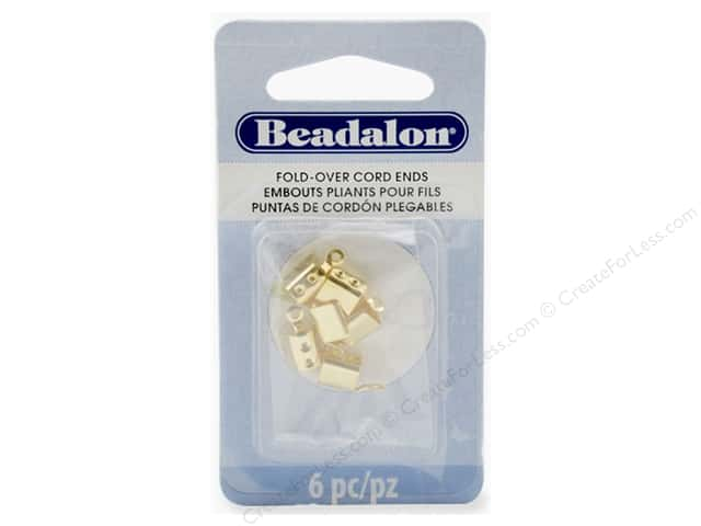 Beadalon Cord Ends Fold Over 4.4 mm Gold Color 6 pc