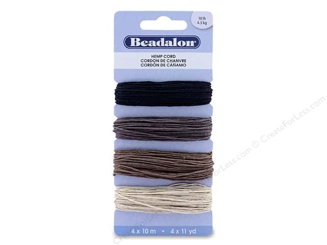 Beadalon Cord Hemp 10# Assorted 40 M