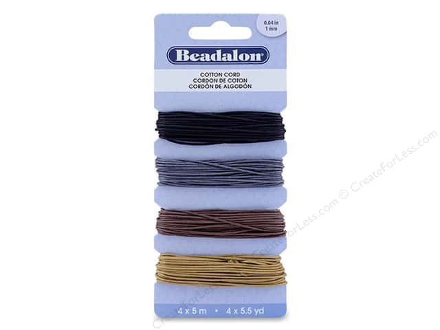 Beadalon Cord Wax/Cotton 1 mm Assorted 20 M