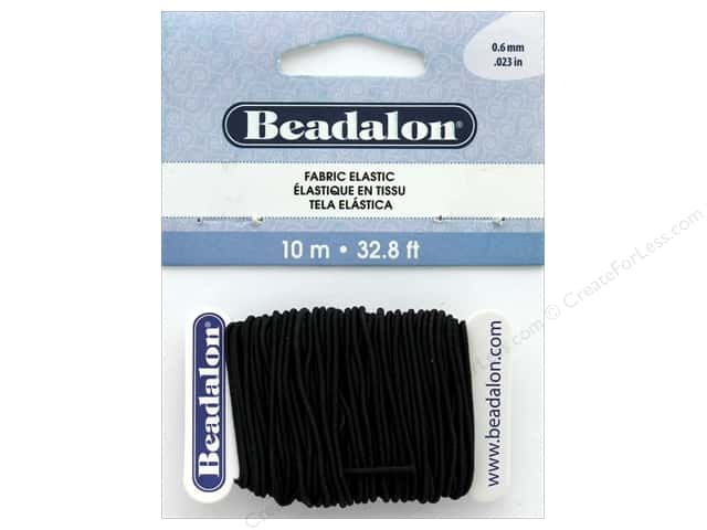 Beadalon Cord Fabric Elastic Bead .6mm Black 10M