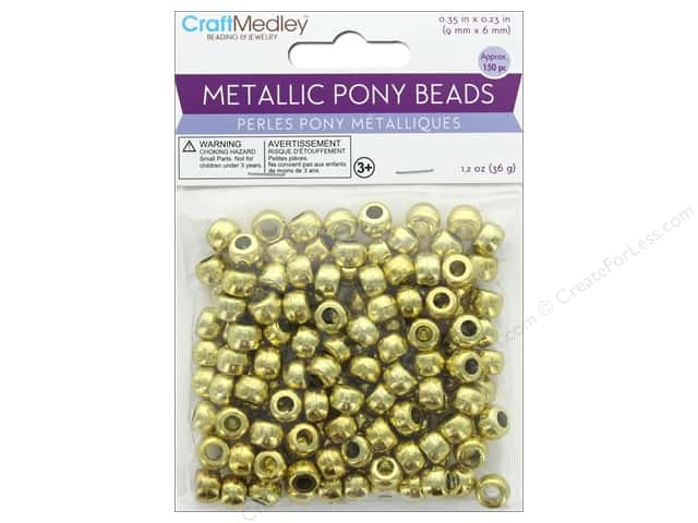 Multicraft Bead Pony 9mm x 6mm Barrel Metallic Gold