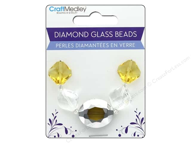 Multicraft Bead Glass Strand Oval/Diamond Amber