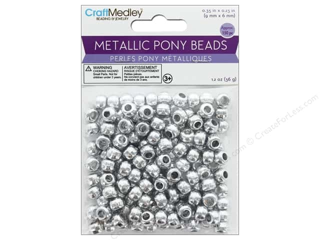 Multicraft Bead Pony 9 mm x 6 mm Barrel Metallic Silver