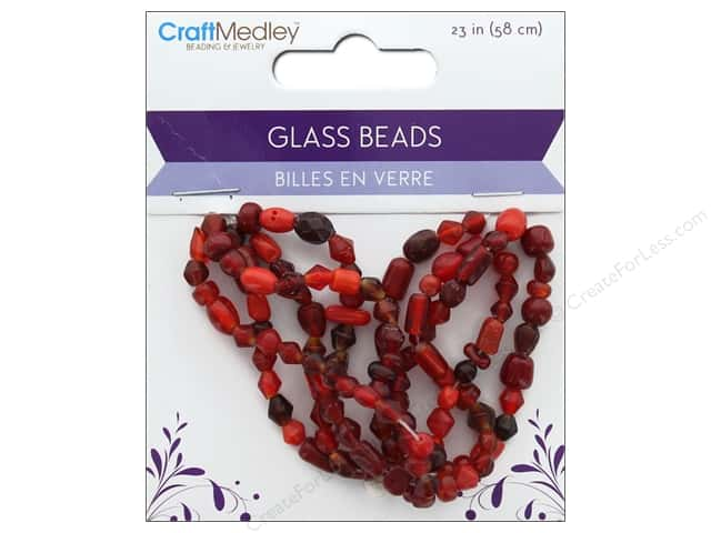 Multicraft Bead Glass Mix 5 Strand Ruby Red