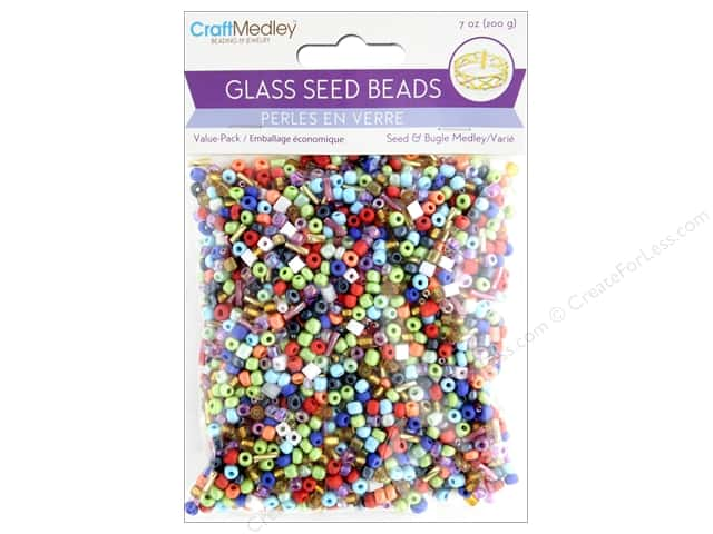 Multicraft Bead Glass Seed Bead/Bugle Value Pack 7 oz Medley