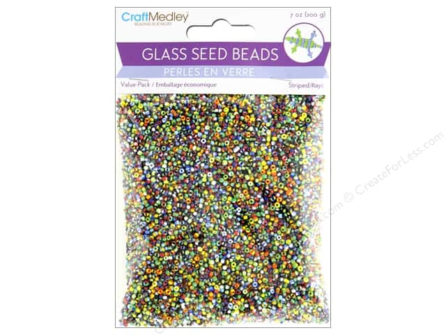 Multicraft Bead Glass Seed Value Pack 7 oz Striped