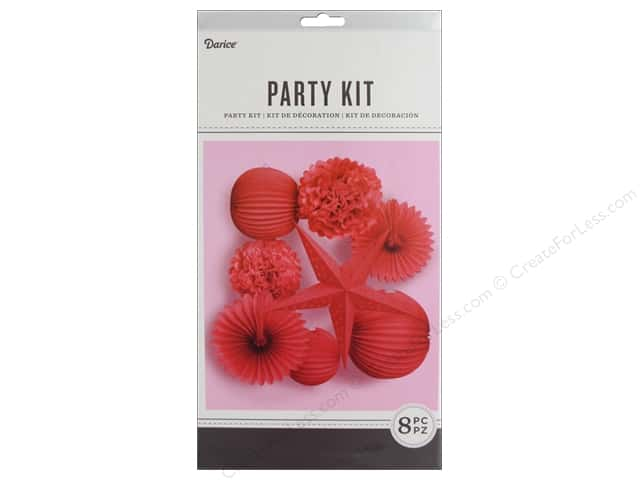 Darice Decor Kit Party Hanging Red 8 pc