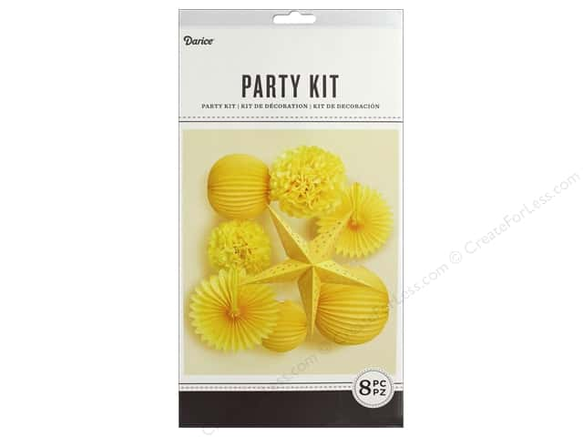 Darice Decor Kit Party Hanging Yellow 8 pc