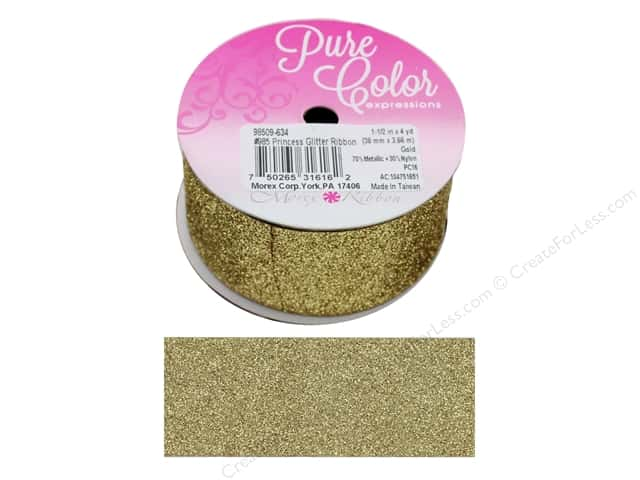 "Morex Ribbon Glitter Princess 1.5""x 4 yd Gold"