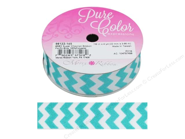 "Morex Ribbon Sugar Chevron 7/8""x 4 yd Pacific Blue"