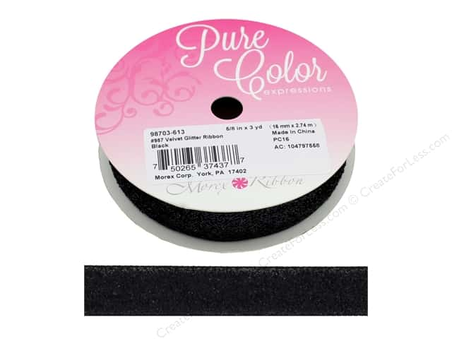 Morex Ribbon Velvet Glitter 5/8 in. x 3 yd Black