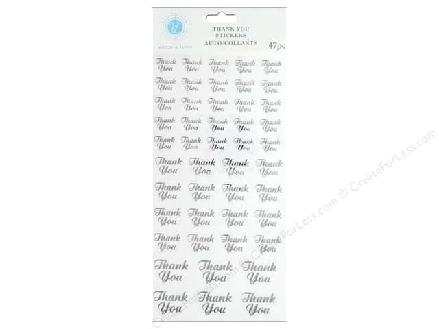 Darice Sticker Thank You Silver/Clear 47 pc