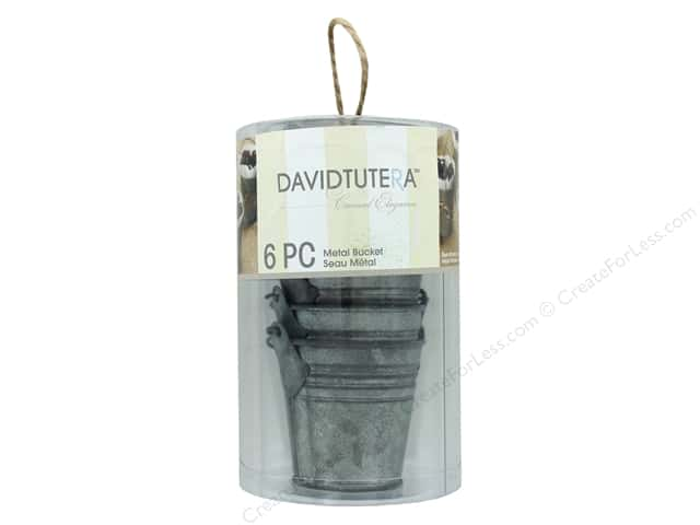 Darice Tin Bucket 2.25 in. Grey 6 pc