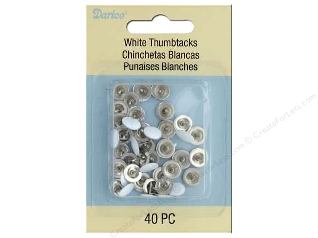 Darice Hardware Thumbtack White 40 pc