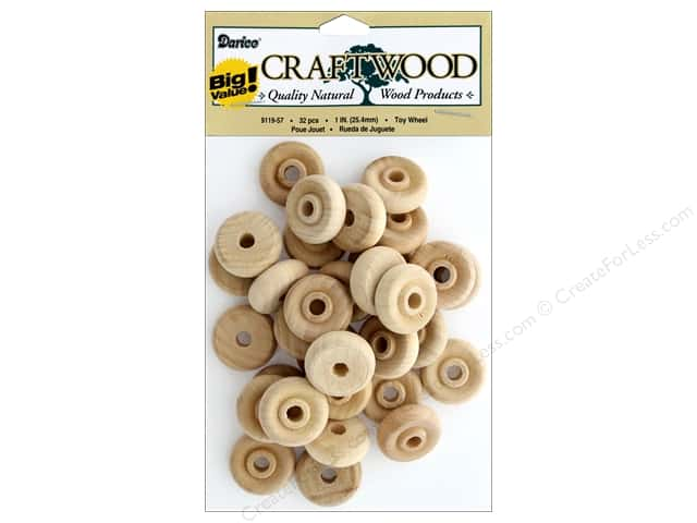 Darice Wood Craftwood Toy Wheel Big Value 1 in. 32 pc