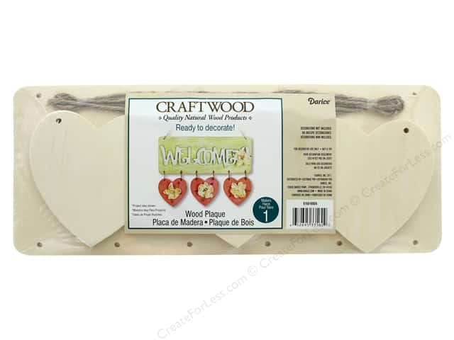 Darice Wood Craftwood Plaque With 3 Hanging Hearts