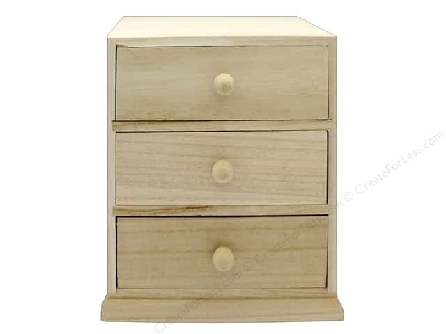 Darice Wood Cabinet 3 Drawer Unfinished 6.69 in. x 5.9 in. x 8.07 in.
