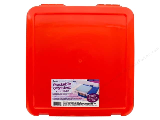 Darice Organizer Box Stackable With Handle 14 in. x 14 in.  Red