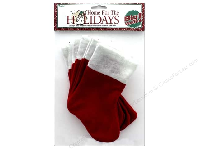 Darice Holiday Christmas Stocking Felt 7 in. 6 pc