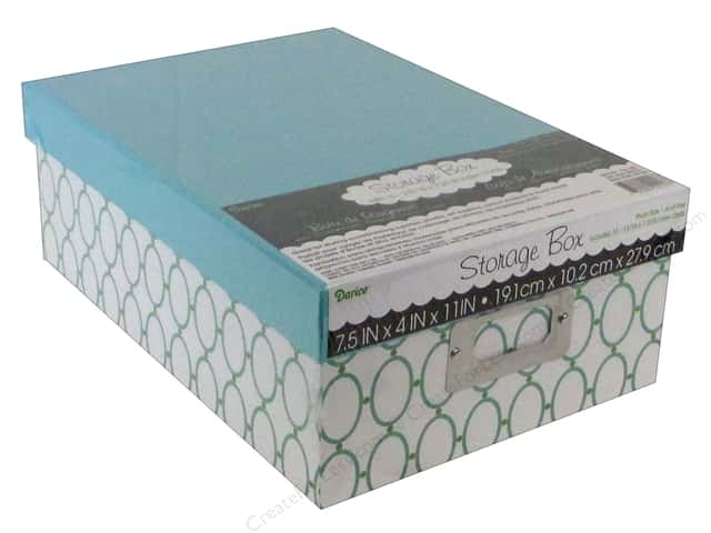 Darice Storage Photo Box 7.5 in. x 4 in. x 11 in.  Oval Green/Teal