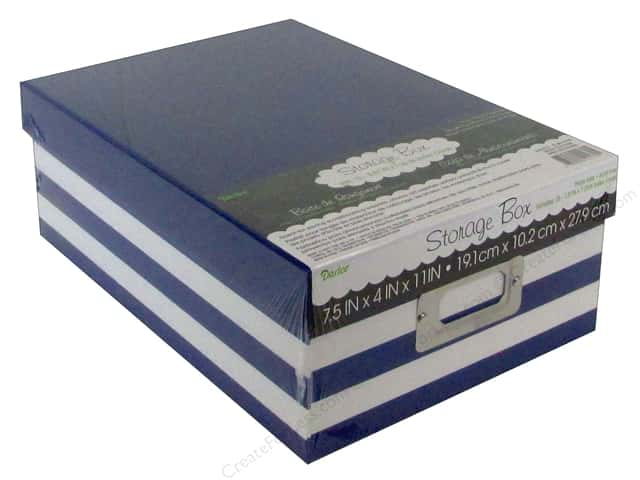 Darice Storage Photo Box  7.5 in. x 4 in. x 11 in. Stripe Blue/White