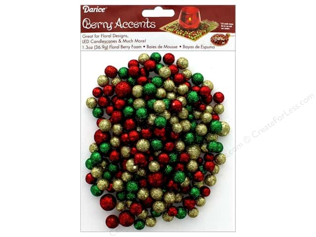 Darice Floral Glitter Foam Beads 1.3 z Red/Green/Gold