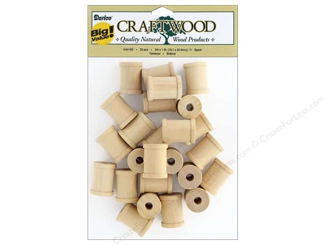 "Darice Wood Spool Big Value .75 in. x 1"" in. 25 pc"
