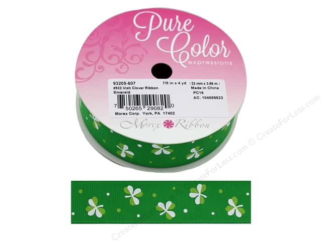 Morex Ribbon Grosgrain Irish Clover 7/8 in. x 4 yd Emerald