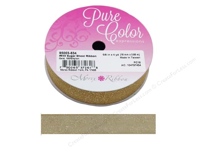 Morex Ribbon Sugar Sheer 5/8 in. x 4 yd Gold