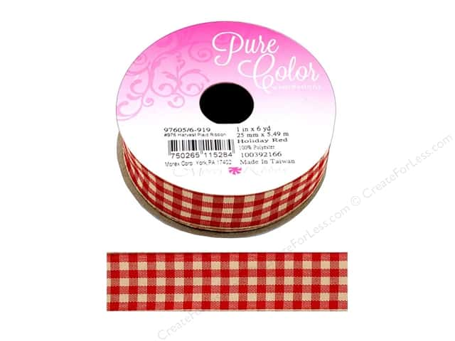Morex Ribbon Wire Harvest Plaid 1 in. x 6 yd Holiday Red