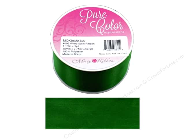 Morex Ribbon Wire Satin 1.5 in. x 3 yd Emerald