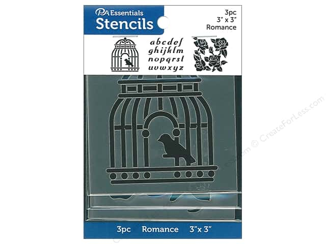 PA Essentials Stencil 3 in. x 3 in. Romance 3 pc