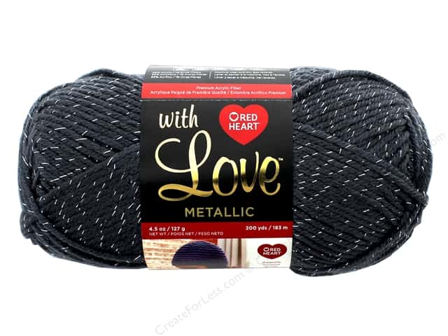 Red Heart With Love Metallic Yarn 200 yd. #8410 Charcoal
