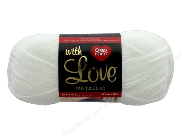 Red Heart With Love Metallic Yarn 200 yd. #8010 White