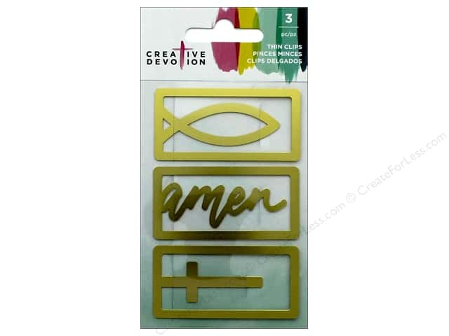 American Crafts Creative Devotion Thin Clip Gold 3 pc