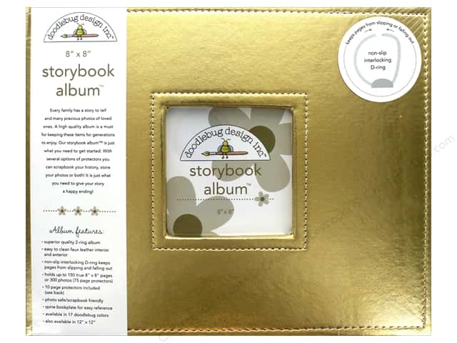 Doodlebug Album Storybook 8 in. x 8 in. Gold
