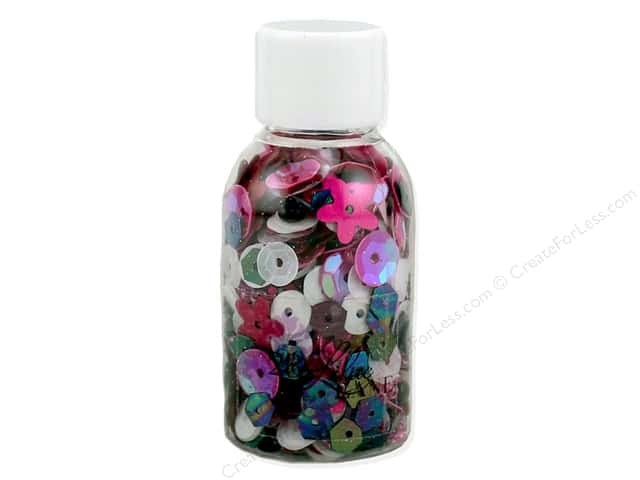 Buttons Galore 28 Lilac Lane Sequin & Bead Mix Pink & Black Party