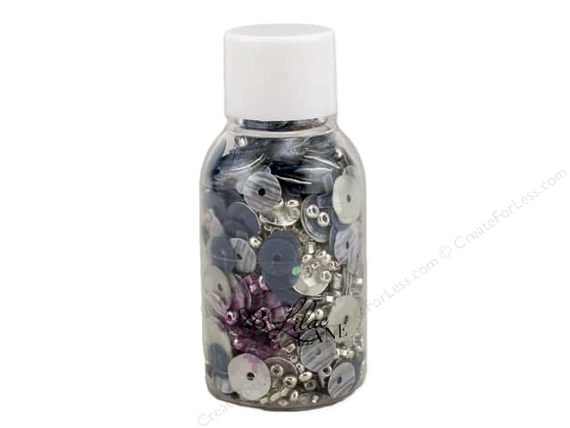 Buttons Galore 28 Lilac Lane Sequin & Bead Mix Silver Linings