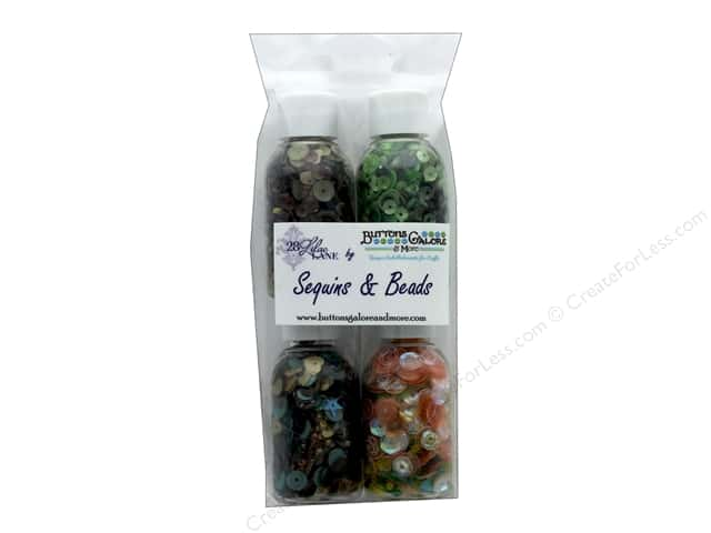Buttons Galore 28 Lilac Lane Quartet Sequin & Bead Mix Autumn 4 pc