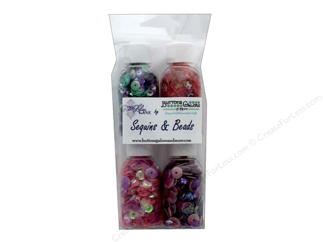 Buttons Galore 28 Lilac Lane Quartet Sequin & Bead Mix Flower Garden 4 pc