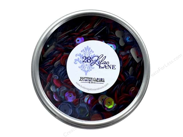 Buttons Galore 28 Lilac Lane Sequin Tin Bon Voyage