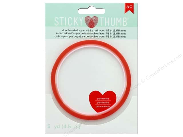 American Crafts Sticky Thumb Super Tape 1/8 in. Red