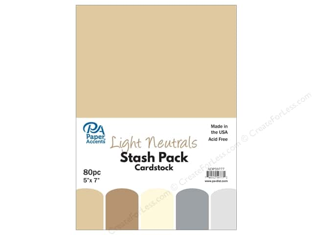 Paper Accents Cardstock Stash Pack 5 x 7 in. Light Neutrals 80 pc.