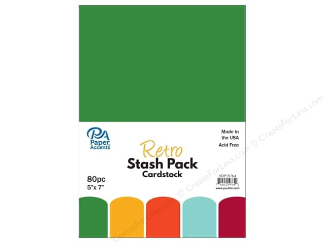 "Paper Accents Stash Pack Cardstock 5""x 7"" Retro 80pc"