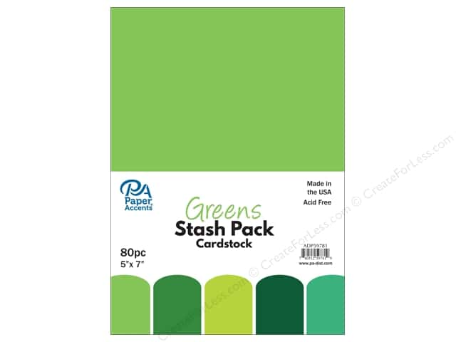 Paper Accents Stash Pack Cardstock 5 in. x 7 in. Greens 80 pc