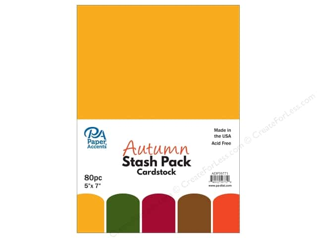 Paper Accents Stash Pack Cardstock 5 in. x 7 in.  Autumn 80 pc